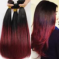 """12 """"-24"""" brasilialainen neitsyt hiukset suoraan ihmisen hiusten pidennykset ombre hiusten, väri 1b / 99j hiuksista kutoo"""