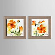 peindre des fleurs abstraites moderne main huile peinte lin naturel avec la main tendue encadrée - ensemble de 2