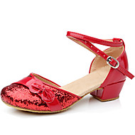 Kids' Dance Shoes Latin/Salsa/Flamenco/Samba Paillette/Synthetic Low Heel Pink/Red/White/Silver/Gold/Multi-color