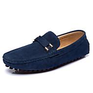 גברים-נעליים ללא שרוכים-עור-נוחות סוליות מוארות-שחור כחול-שטח משרד ועבודה יומיומי-עקב שטוח