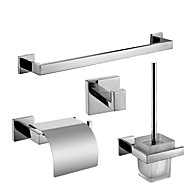 Polish Stainless Steel Bath Accessories Set with Single Towel Bar Toilet Paper Holder Toilet Brush Holder and Robe Hook