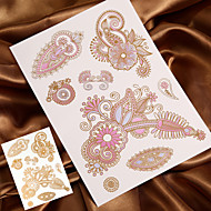 4PCS Flash Tattoo Metal Tattoo Gold Tattoo Temporary Tattoo Sticker Metallic Tattoo (Changing Color in Sunshine)