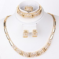 Gold-plated classic romantic heart line(Including Necklace, Earring, Bracelet, Ring) Jewelry Sets
