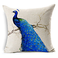 Country Blue Peacock Patterned Cotton/Linen Decorative Pillow Cover