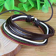 Men's Korean Style Fashion Chain Bracelet Faux Leather