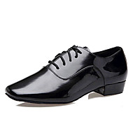Non Customizable Men's Dance Shoes Latin Patent Leather Low Heel Black