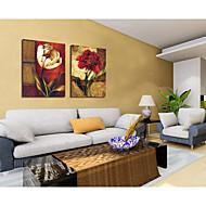 בד מצויר ביד פרחים מופשטים קישוט ציור שמן עם נמתח ממוסגר - סט של 2