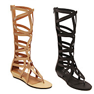 Women's Shoes Faux Leather Wedge Heel Wedges Sandals Outdoor/Casual Black/Gold