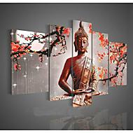 kézzel festett fal művészet vallás buddha olaj, vászon zöld 5db / szett keret nélkül