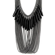 Fashion Black Multilayer drop necklace