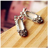 Creative Cute Bow shoes Little Shoes Round Diamond Stud Earrings