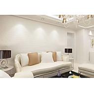Contemporary White Brick Wallpaper Tile 0.53m*10m Wall Covering PVC/Vinyl Wall Art