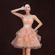 Homecoming Cocktail Party/Formal Evening Dress Strapless Knee-length Satin Dress Orange Dress