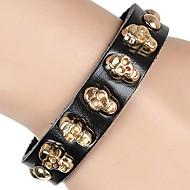Unisex Punk Style CrossBones Rivet Chain Bracelet Faux Leather