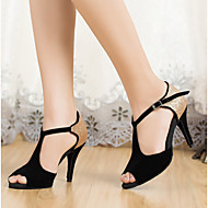 Customizable Women's Dance Shoes Leatherette Leatherette Latin Heels Stiletto Heel Indoor Black