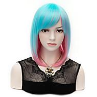 mulheres de comprimento médio populares mix cabelo sintético de cor azul e rosa bob peruca