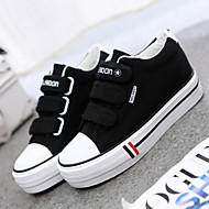 Women's Shoes Canvas Spring / Fall Creepers / Round Toe Outdoor / Office & Career / Casual Flat Heel Magic Tape Black