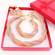 Trendy Party Simple Crystal Gold Plated (Including Necklace, Earring, Bracelet) Jewelry Sets