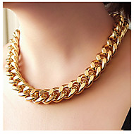 Shiny Light Gold Chunky Aluminium Curb Chain Necklace