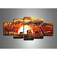 kézzel festett modern absztrakt elefánt, zsiráf, napnyugta afrikai táj olaj, vászon 5db / szett keret nélkül