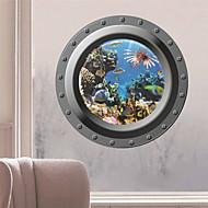 adesivi murali decalcomanie della parete, 3d pesci oceano adesivo da parete finestra in PVC