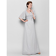 Sheath/Column Plus Sizes / Petite Mother of the Bride Dress - Silver Floor-length Half Sleeve Chiffon