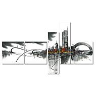 Handgemalte Wanddekor schwarz weiß Stadtbild-Ölgemälde auf Segeltuch 5pcs / set (ohne Rahmen)