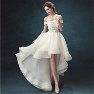 A-line Wedding Dress - Chic & Modern Asymmetrical Off-the-shoulder Organza with Lace / Beading