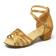 Non Customizable Women's / Kids' Dance Shoes Satin Satin Latin High Heels Low Heel Practice / Beginner / IndoorBlack / Blue / Brown / Red