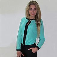 Women's Round Neck Blouse , Nylon Long Sleeve