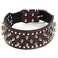 Dog Collar Adjustable/Retractable / Studded Rock Green / Brown PU Leather
