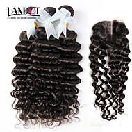 4pcs beaucoup indien vague profonde cheveux bouclés vierge avec fermeture 3Bundles remy non transformés trames de cheveux humains avec