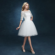 A-line Wedding Dress - Reception Little White Dress Knee-length Bateau Lace Tulle with Appliques