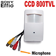 Effio-a câmera de segurança sony ccd mini-800tvl escondido CCTV com 3,7 milímetros lente pinhole áudio para microfone externo