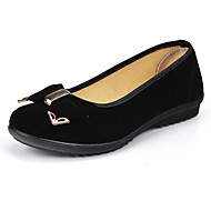 Women's Shoes Fabric Flat Heel Comfort/Round Toe/Closed Toe Flats Outdoor/Office & Career/Casual Black
