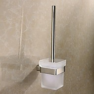 Glass Toilet Brush Cup Polished Stainless Steel Wall Mounted Square Toilet Brush Holder Set