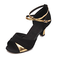 Non Customizable Women's Dance Shoes Latin Suede/Leatherette Cuban Heel Black/Silver/Gold