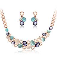 Women's Women's Colorful Stylish Elegant European Style Necklace Earrings Set Wedding Jewelry Set