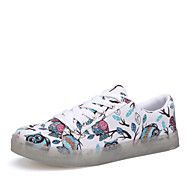 Women's Shoes Canvas Flat Heel Round Toe Fashion Sneakers Outdoor Blue/Green/White