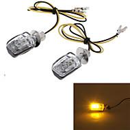 jaune 6 LED moto lampe témoin de clignotant de lumière coque noire (2 pcs)