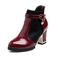 נעלי נשים - מגפיים - עור פטנט - מעוגל / מגפי אופנה - שחור / לבן / בורגונדי - משרד ועבודה / שמלה / קז'ואל - עקב עבה