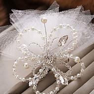 Mulheres Imitação de Pérola Capacete-Casamento Ocasião Especial Flores Véus de Rede 1 Peça