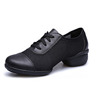 Women's Dance Shoes Sneakers Breathable Leather+surface Low Heel Black/Red