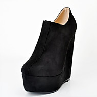 Women's Shoes Fleece Wedge Heel Wedges / Round Toe Boots Party & Evening / Dress Black / Purple / Red