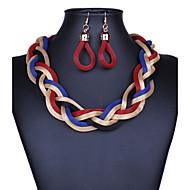 Femme Boucles d'oreille goutte Colliers Déclaration Bijoux Alliage Bijoux Fantaisie Vintage Noir Gris Violet Rouge Bleu Bijoux PourSoirée