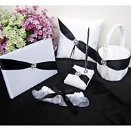 svart satin bånd uest bok sett, ring pute, blomsterpike kurv, strømpebånd (sett 5)
