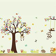 벽 스티커 벽 데칼, 큰 동물은 나무 PVC 벽 스티커 올빼미
