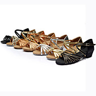Customizable Women's Dance Shoes Latin Silk/Leather Chunky Heel Black/Brown/Silver/Gold/Leopard/Other