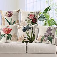 סט של כיסוי כרית נוי פרחים בסגנון 5 ארץ בדוגמת כותנה / פשתן