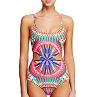 Kvinders Nylon Halterneck Farveblok/Geometrisk Bikini Uden bøjle
